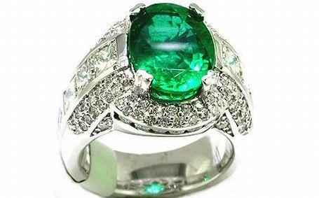 Anel de Ouro branco com esmeralda e diamantes