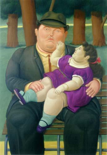 Senhor com criança no Colo Botero EuGordinha