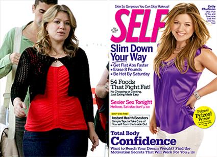 Kelly Clarkson sem e com Photoshop