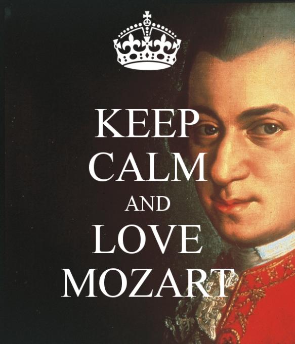 """""""Mantenha a calma e ame Mozart"""" (tradução da frase na imagem)"""
