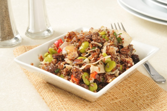 A healthy red quninoa salad